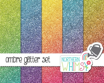 Glitter Digital Paper – glitter backgrounds in ombre tropical colors for digital scrapbooking – glitter texture - commercial use