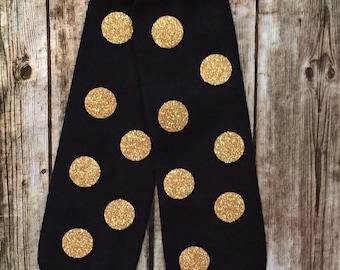 Baby Leg Warmers, Black & Gold Leggings, Black and Gold Polka Dot Leggings, Leg Warmers, Baby Leggings, leg warmers