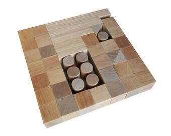 Handmade Wooden Building Blocks (60 details), Developmental Toys, children wooden toy, wooden blocks for development, educational toys