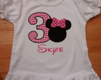 Personalized Minnie Mouse Birthday Shirt