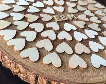 Acacia Wooden Wedding Guest book Alternative - Sign in Rustic guestbook - 70 hearts - 100 guests