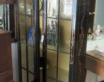Chinoiserie China Cabinet  Black Lacquer China Cabinet Painted Display Cabinet Hollywood Regency Cabinet Black China Cabinet Lighted Cabinet