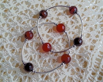 Gratitude Bracelet with Faceted Carnelian Beads - Reiki Charged Gemstone Jewelry