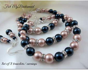 Set of 2 bridesmaid jewelry Bracelet with earrings Bridesmaid gifts bridal party Champagne navy blue pearls Spring fall wedding jewelry