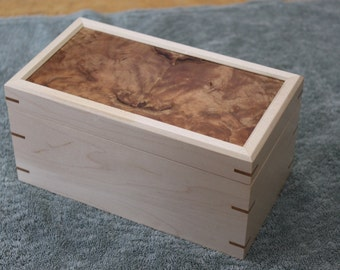Jewelry Box Made of Maple With Mirrored Burled Cherry Lid