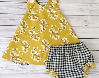Yellow Baby Dress , Checker Baby Dress , Yellow Toddler Dress , Yellow Pinafore , Checkered Bloomers , Mustard Yellow Dress , Baby Dress
