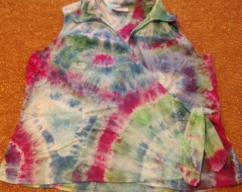 Women's Size 22/24W Up-Cycled Tie Dye Wrap Sleeveless Shirt,cotton blend, Dress Barn