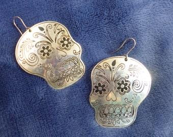 Day of the Dead embossed Skull metal earrings