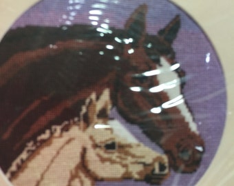Vintage 1986 The Creative Circle 0623 Mare & Foal Pillow or Picture Needlepoint Kit