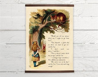 Alice In Wonderland Cheshire Cat Canvas Poster Print Wooden  Wall Chart Size A3 16x11