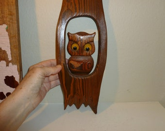 Vintage Wood Owl Plaque From The 1970's