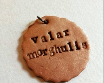 Game of Thrones inspired Valar Morghulis Arya Stark Braavos pendant