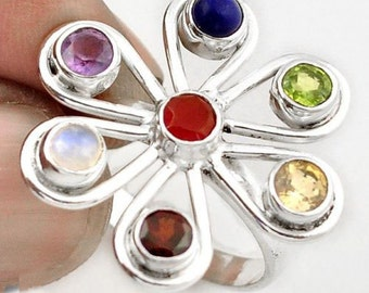 Ring sterling silver. 925 7 Chakras