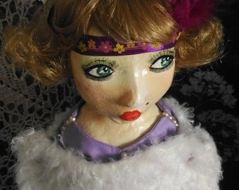 """Antique French Boudoir 1920s Style OOAK Art Doll, Wood Carving, Papier Mache, 22"""" Tall or 55 CM, Art Deco Gift for Her"""