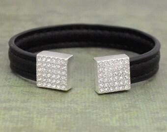 Black Leather Crystal Cuff - 57765