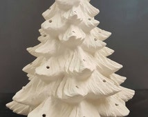 Ceramic Bisque Christmas Tree - Ready To Paint Ceramic Tree - U-Paint - 17 Inch Tree - Tree With Base And Bulb - Bisque Tree- Christmas Tree