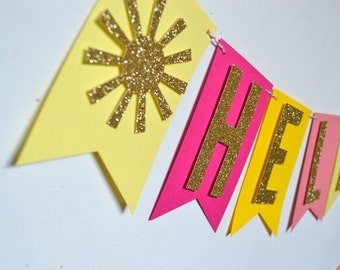 Hello Sunshine Baby Shower, Baby Sprinkle, Bridal Shower Banner Pink Coral Yellow and Gold Glitter