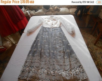 """SALE Vintage 1960's """"Saba of California"""" formal/gown in white sheer fabric with navy striped skirt-Size X-Small"""