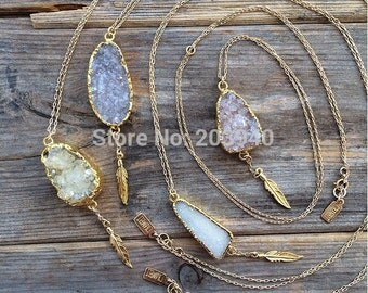 WT-N127 Crazy hot!! Elegant Natural druzy agate necklace with little charms, randomly druzy stone charm necklace