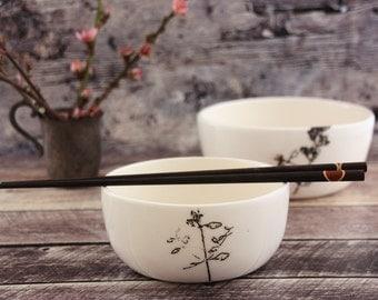 Ceramic white bowl set of 3, Ceramic bowl, Modern serving bowl, Salad white bowl, Micromeria fruticosa illustration bowl, White home decor