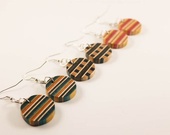 Upcycled Recycled Repurposed - Wood Jewelry - Wood Earrings - Skateboard Jewelry - Recycled Earrings - Skateboard Earrings