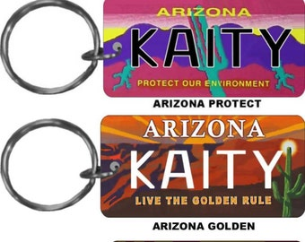 Personalized Arizona replica license plate keychain overlaminated - key ring