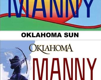 Personalized Oklahoma Refrigerator Magnet State License Plate Replica