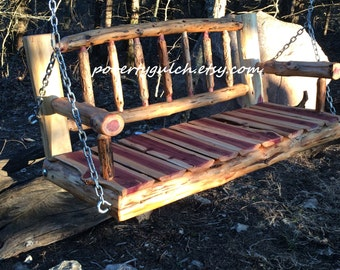 4' Rustic Cedar Log Spindle Back Porch Swing - Rustic Porch Swing - Wood Porch Swing - 4 Foot Swing - Poverty Gulch - Rustic Wedding Gift
