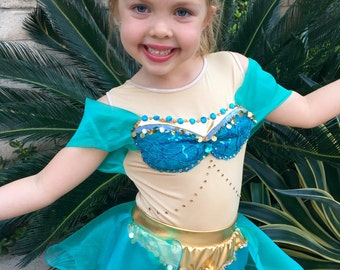 Princess Jasmine Costume Arabian Princess Girls Costume Size 2T,3T,4,5,6,7,8Y