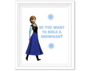 Frozen Anna Do You Want to Build A Snowman Printable - Instant Download