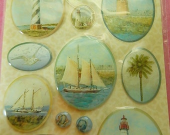 Nautical Stickers Tim Coffey K & Company Embellishments Scrapbooks Greeting Cards Collage