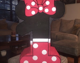 Amazing Minnie Mouse Number 1 hot pink  inspired piñata  party !!!!!