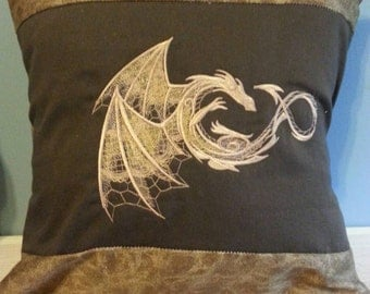 dragon handmade throw pillow cover brown with gold embroidered Dragon with wings
