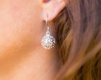 Sterling Silver Hollow Ball Drop Earrings