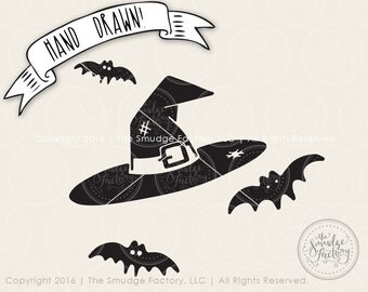 Witch Hat SVG Cut File, Bats SVG Cut File, Halloween Cutting File, Silhouette Cut File, Cricut Trick Or Treat SVG Halloween Graphic Overlay