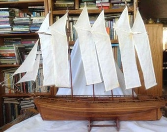 Vintage Handmade Wood Inlay Replica of a Six Masted Schooner - Mid-Century