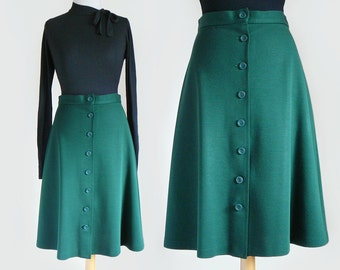 70's Midi Length Front Button Jersey Knit Skirt in Forest Green / Medium