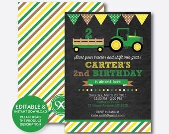 Instant Download, Editable Green Tractor Birthday Invitation, Green Tractor Invitation, Tractor Party Invitation, Boy, Chalkboard (CKB.167)