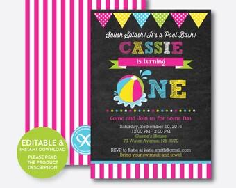 Instant Download, Editable One Birthday Invitation, 1st Birthday Invitation, Girl First Birthday, Beach Ball Invitation,Chalkboard(CKB.109B)