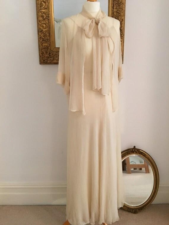 Original vintage 1930s bridal dress and jacket silk georgette for Silk georgette wedding dress