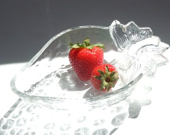 Strawberry Dish / Heavy Glass Dish in the shape of a berry
