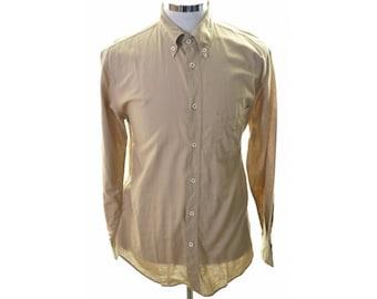 Armani Mens Shirt Large Beige Cotton Linen