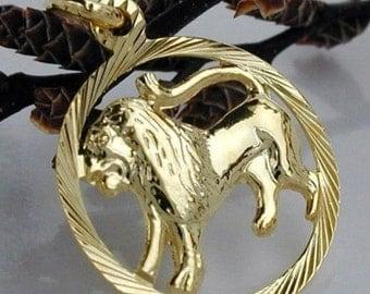 Zodiac pendant, lion, 9K GOLD