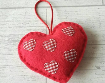 Red felt heart with red and white gingham decoration