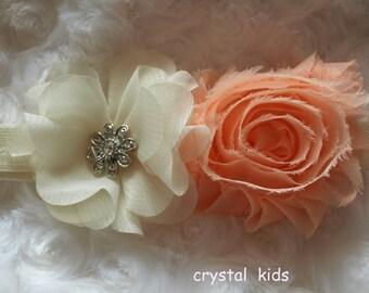 Stunning Baby Girls Handmade Crystal Headband Ivory Peach Chiffon Elastic Headbands  Various sizes