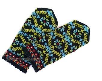 Hand Knitted Blue Green Black Mittens Hand Knitted Blue Green Black Gloves Wool Mittens Wool Gloves Winter Gloves Patterned Latvian Mittens