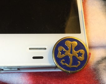 Girl Scout Medal, Cell Phone Dust Plug/Deco for IPhone 6. Phone bling/accessory.  Cell phone dust plug.