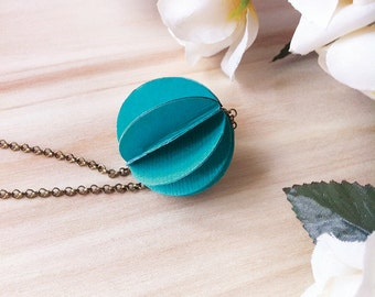 Turquoise Necklace, Paper Necklace, Paper Jewelry, Choker with paper charm