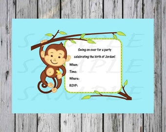 Baby shower Invitation Monkey Teal with Vines