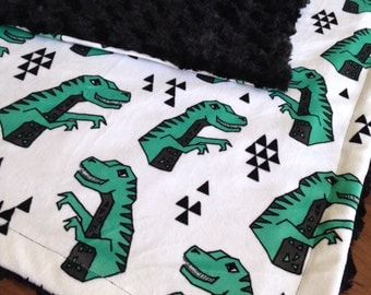 Minky Baby Blanket- Dinosaurs, Baby Blanket, Adult Minky Throw